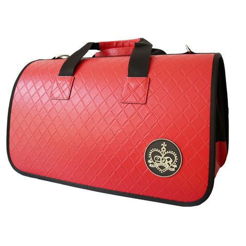 Beautiful Leather Case Carrier for Small Dogs and Cats with nylon stitched leather handles and strap Red Amy Loves Bags