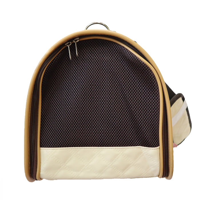 Beautiful Leather Case Carrier for Small Dogs and Cats with nylon stitched leather handles and strap Ivory and Burnt Umber Amy Loves Bags Side Image Profile of breathable Mesh