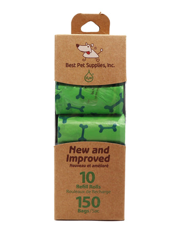 Best Pet Supplies 150 Waste Bags 10 Refill Rolls  New and Improved Fresh Scented, Fits all standard dispensers. Green Bags with Bone Pattern.