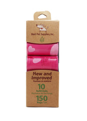 Best Pet Supplies 150 Waste Bags 10 Refill Rolls  New and Improved Fresh Scented, Fits all standard dispensers. Pink Bags with Big Hearts Pattern.