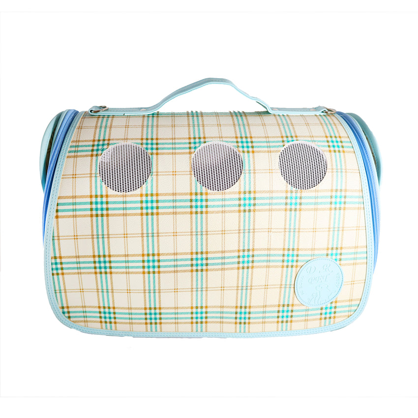 Luxurious Baby Blue Plaid Small Carrier for Small Dogs and Cats. Breathable mesh circles & side panels for protective visibility. Leather Case with top handle and strap with padding.