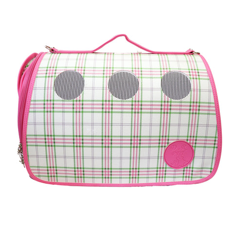 Luxurious Bubblegum Pink Plaid Small Carrier for Small Dogs and Cats. Breathable mesh circles & side panels for protective visibility. Leather Case with top handle and strap with padding