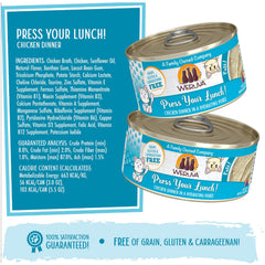 Weruva Press your lunch! Can of Cat food Made with Tasty Chicken And beef dinner in a hydrating puree. grain gluten & carrageenan free Ingredients and guaranteed analysis