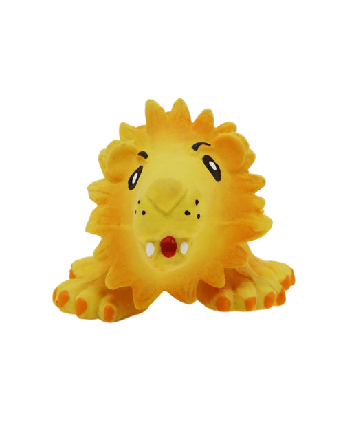 yellow rubber lion toy for dogs