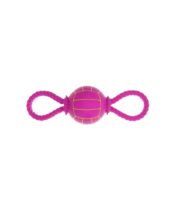 purple rubber volleyball with two side handles 11""