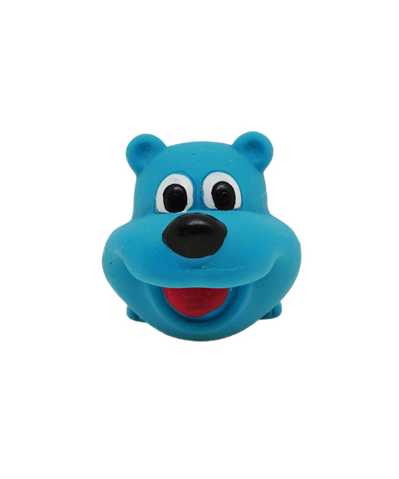 blue rubber happy dog toy for dogs 3""