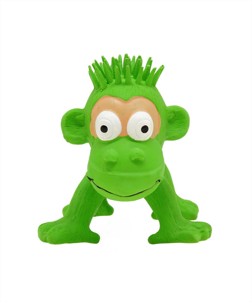 standing green rubber monkey toy for dogs 5""