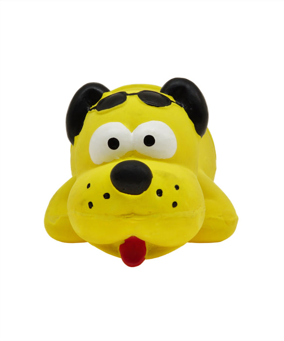 yellow rubber dog toy in swim trunks for dogs 8.5""