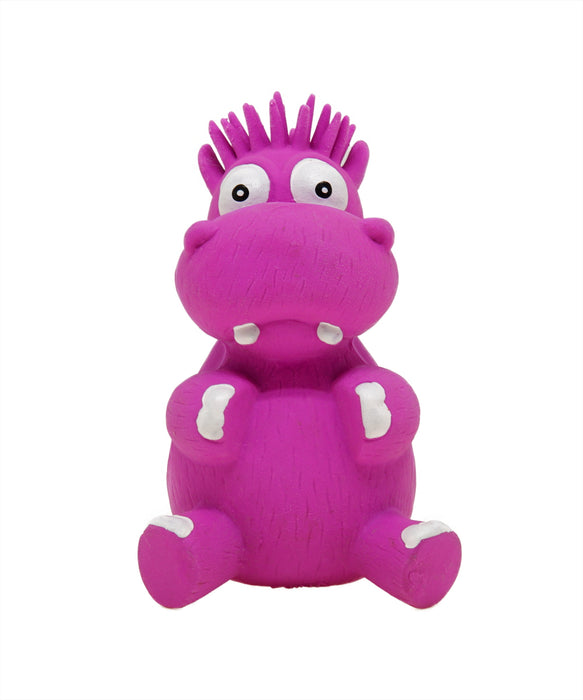 purple sitting rubber hippo toy for dogs 5""