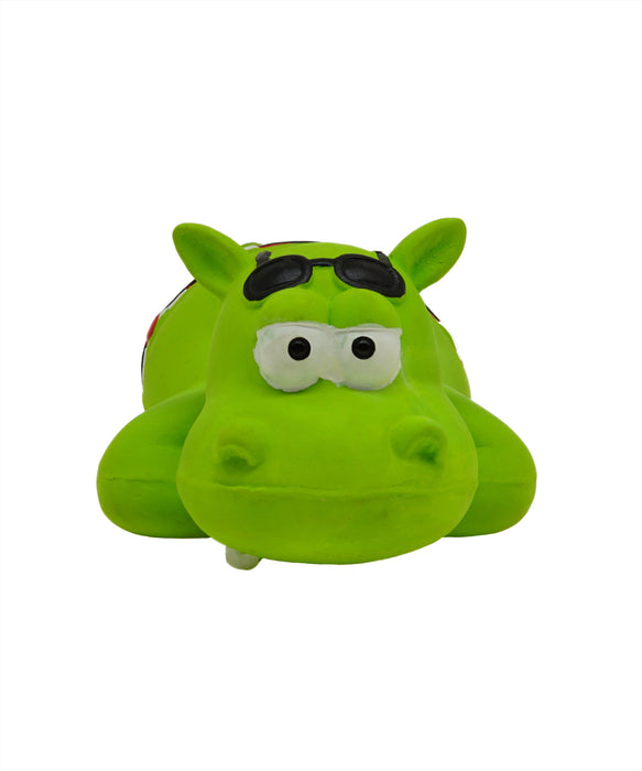 green rubber hippo toy in swim trunk for dogs 8.5""