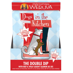 Weruva Dogs in the Kitchen Wet Food Pouch The Double Dip Deliciously Made with beef and wild caught salmon AU JUS Net wt 2.8 OZ