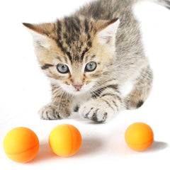 One Pack of 3 Piece Orange Ping Pong Bouncy Cat Toy s For cats and Kittens Fun Interactive Toys Kitten Model Playing