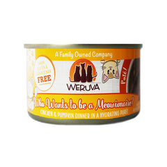Weruva Who wants to be a meowionaire Can of Cat food Made with Tasty Chicken And beef dinner in a hydrating puree. grain gluten & carrageenan free