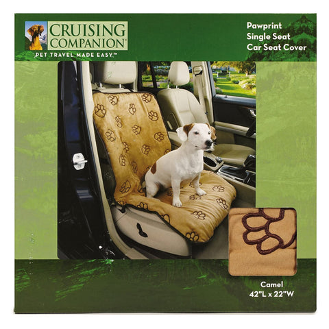 Cruising Companion Single Car Seat Cover Camel with Dark Brow Paw Print Pattern for Travel with Dogs for No Messy Hair on seats