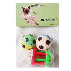 One Pack Of 3 Piece MultiColored 2 Soft Sponge Soccer Balls And One Bell ball Roller Toys for Cats Fun Interactive Cat Toys