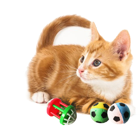 One Pack Of 3 Piece MultiColored 2 Soft Sponge Soccer Balls And One Bell ball Roller Toys for Cats Fun Interactive Cat Toys With Cat Playing