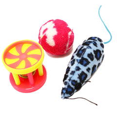 One Pack of 3 Piece Bell roller, plush Ball and Leopard Print Mouse Toys For cats and Kittens Vibrant Colors to attract your kitty to play. crazy Movements for cats excitement