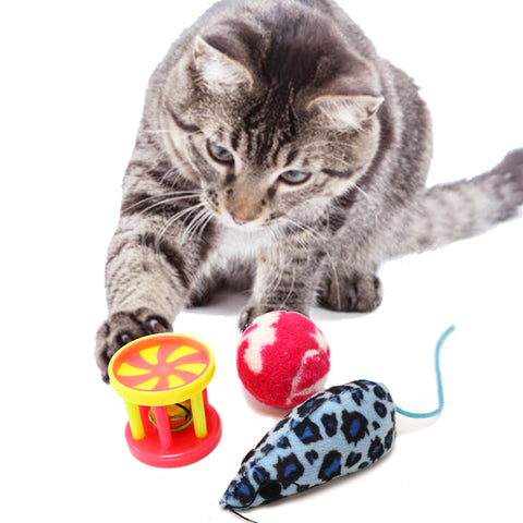 One Pack of 3 Piece Bell roller, plush Ball and Leopard Print Mouse Toys For cats and Kittens Vibrant Colors to attract your kitty to play. crazy Movements for cats excitement Cat Model Enticing play
