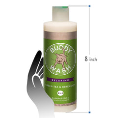 Buddy Wash Relaxing Bergamot 2in1 Shampoo and Conditioner 16 fl oz for dogs Fresh and Clean Coat Softener Size measurements 8 Inch Bottle