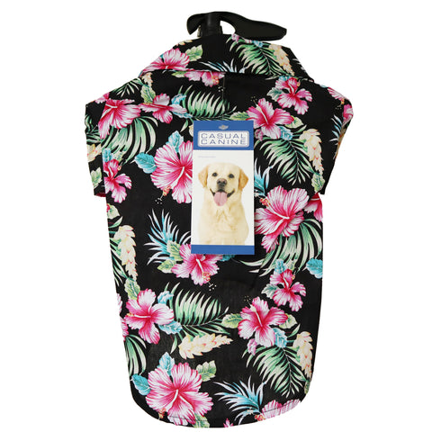 Black & Tropical Floral Hawaiian Breeze Camp Shirt