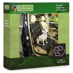 Cruising Companion Single Car Seat Cover Black with Vibrant white Paw Print Pattern for Travel with Dogs for No Messy Hair on seats
