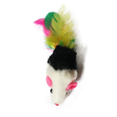 One Pack of 3 piece MultiColored Feather Tail Mice Fun Interactive Cat Toy for Cats and Kittens Detailed Image