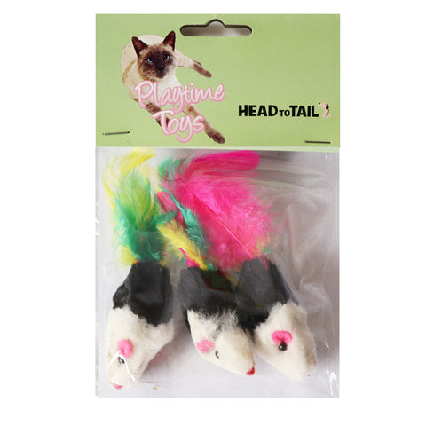 One Pack of 3 piece MultiColored Feather Tail Mice Fun Interactive Cat Toy for Cats and Kittens