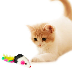 One Pack of 3 piece MultiColored Feather Tail Mice Fun Interactive Cat Toy for Cats and Kittens Kitten Playing Model