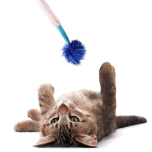 Interactive Crazy Cat Wand Stick toy Blue/Lilac with Blue Fuzzy Faux Fur Ball Fun String Cat toy for Cats and Kittens Detailed Model Kitty Excited Play
