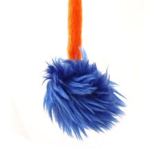 Interactive Crazy Cat Wand Stick toy Sunset Orange with Blue Fuzzy Faux Fur Ball Fun String Cat toy for Cats and Kittens Detailed Blue Ball