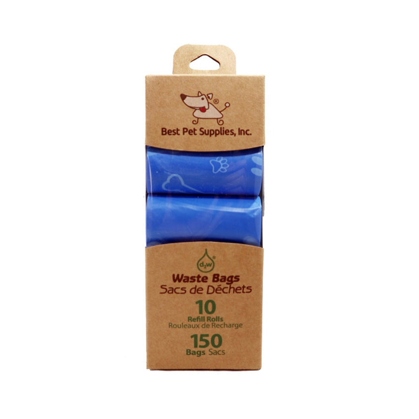 Best Pet Supplies 150 Waste Bags 10 Refill Rolls  New and Improved Fresh Scented, Fits all standard dispensers. Blue Bags with Bone Pattern.
