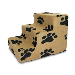 Best Pet Supplies Pet Stairs Beige with Black Paws Prints 3 Step Stairs Soft Foam Texture Holds up to 190 Lbs