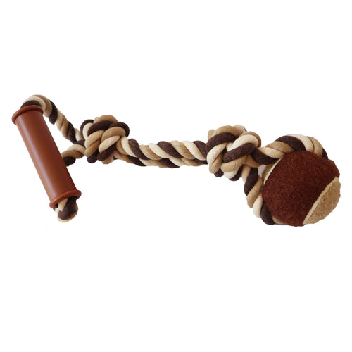 Twist Braided Knotted Rope with Tennis Ball and Handle Tugging Dog Toy 15