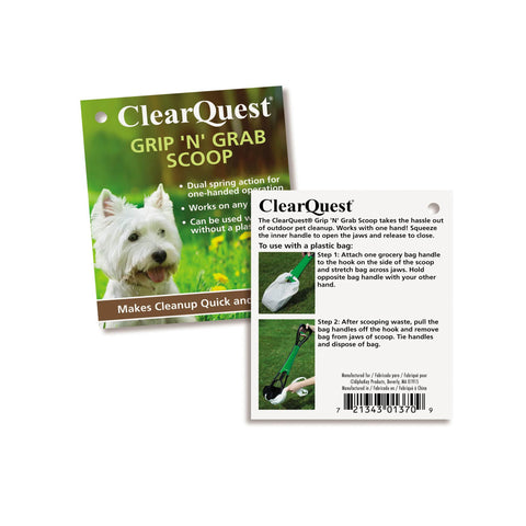 Clear Quest Poop Scooper for No mess Waste Management Green with Black Scooping Mechanisms Tag and Instructions