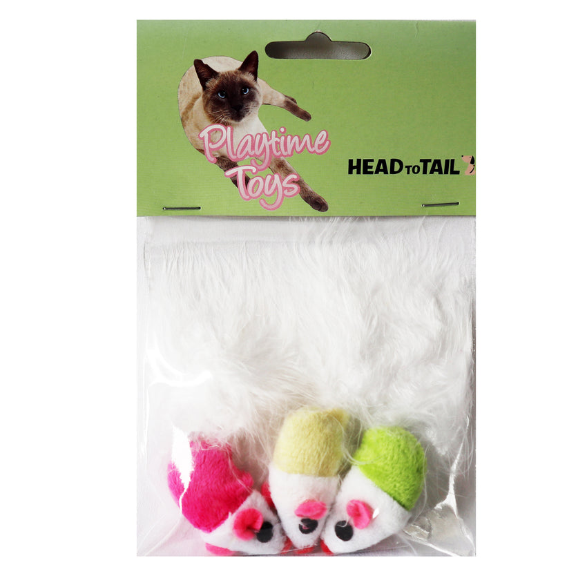 One pack 3 piece cat toy includes one pick, yellow, and green mouse with fluffy tails to entertain and attract cat or kitten toy