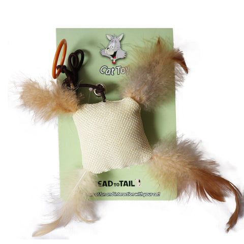 Burlap Cotton cat toy stuffed with catnip with 4 feathered corners Fun Interactive Cat toy for Cats and Kittens Tough and Durably Woven