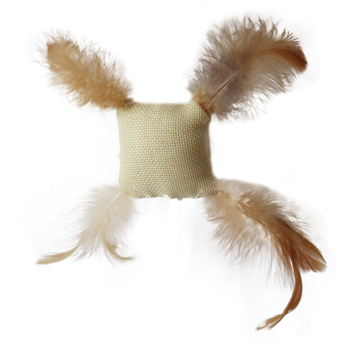 Burlap Cotton cat toy stuffed with catnip with 4 feathered corners Fun Interactive Cat toy for Cats and Kittens Tough and Durably Woven Detailed image
