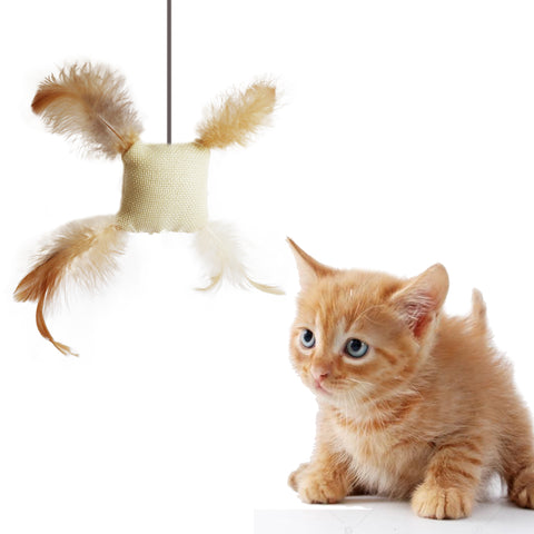 Burlap Cotton cat toy stuffed with catnip with 4 feathered corners Fun Interactive Cat toy for Cats and Kittens Tough and Durably Woven Detailed image with kitten model