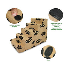 Best Pet Supplies Pet Stairs Beige with Black Paws Prints 3-4-5 Step Stairs Soft Foam Texture Holds up to 190 Lbs Detailed image