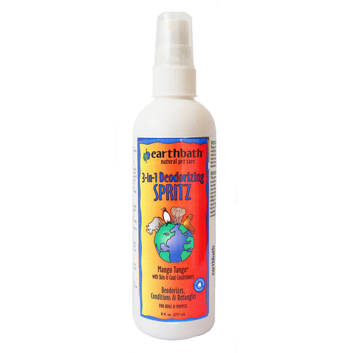 Earthbath 3-in-1 Deodorizing Spritz Mango Tango, Deodorizing, conditiong, and detangle spray for dogs and puppies