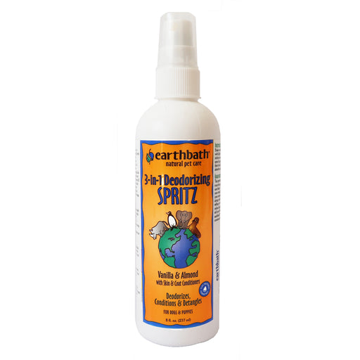 Earthbath 3-in-1 Deodorizing Spritz Vanilla & Almond conditions the skin & coat for dogs and puppies, 8 fl. oz. to every bottle
