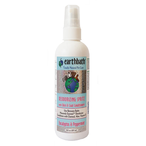 Earthbath 3-in-1 Deodorizing Spritz Eucalyptus & Peppermint, Use between baths heavenly scented deodorizer, Conditions with Oatmeal, Aloe, Vitamin E to condition the skin and Coat, 8 fl. oz. deodorizing spray.