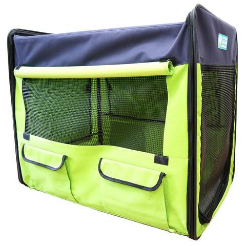 Guardian Gear Grass Green & Navy Blue Collapsible Dog Crate, Large