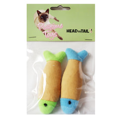 One pack of 2 Piece Soft Fish Plush Cat toys for Cats and Kittens, Beige with green and Beige with Blue Colors