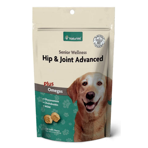 NaturVet Hip & Joint Advanced Plus Omegas Senior Wellness - 120 Soft Chews