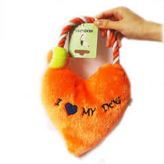 Orange Soft Plush Tug Toy with Rope Arch Attached with Tennis Ball Around Rope Labeled I heart My Dog