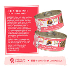 Weruva Jolly Good Fares Can of Cat food Made with Tasty Chicken And beef dinner in a hydrating puree. grain gluten & carrageenan free Directions for use and ingredients