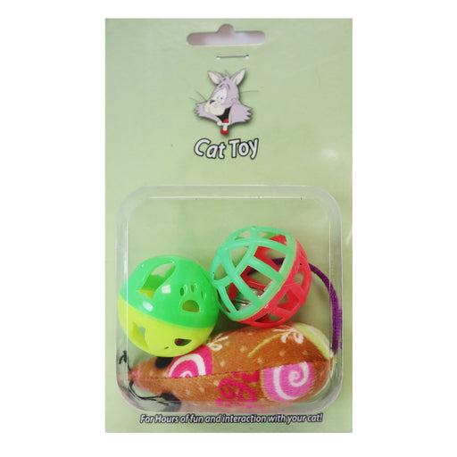 One pack 3 piece cat toy includes mouse and two tinker balls for cats and kittens, Variety of cat toys with different patterns to keep their attention for cats and kittens