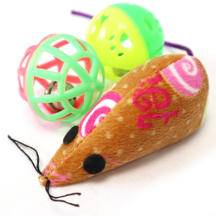 One pack 3 piece cat toy includes mouse with candy pattern and two balls with bells toy for cats and kittens, multicolored cat toys to attract your cat