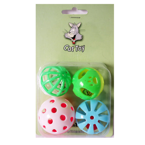One pack Of 4 Piece MultiColored Different Sizes Bell Balls with A Variety of Patterns Fun Interactive Cat Toy For cats and kittens